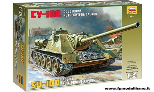 SU-100 Soviet self-propelled gun in scala 1:35 Zvezda 3531 * Euro 19,00 in Kit ** Euro 49,00 Costruito (Iva Incl.)