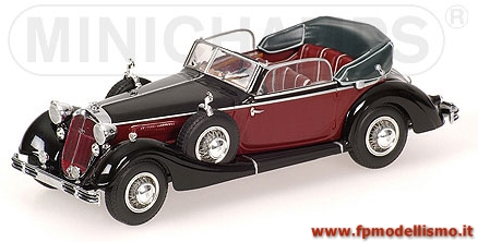 Die Cast Metal * HORCH 853A CABRIOLET 1938  BLACK/RED - MINICHAMPS 1:43 * EURO 62,00 (Iva Incl.)