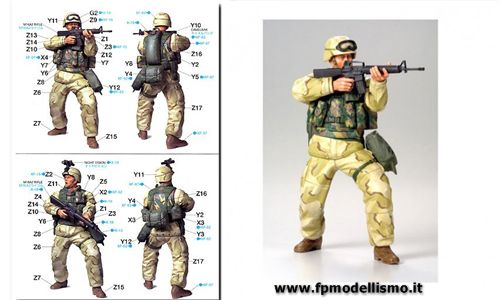 Modern US Army Infantryman (Desert Uniform) in Scala 1/16  Tamiya 36308 * EURO 17,50 in Kit ** Euro 37,50 Costruito (Iva Incl.)